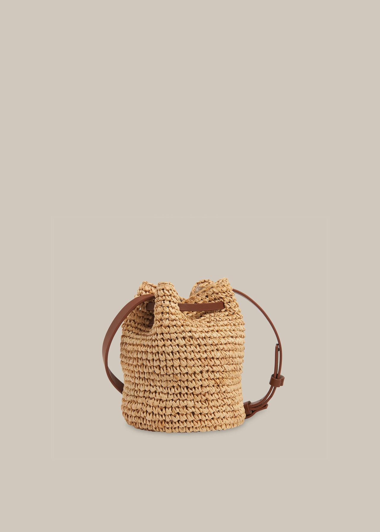 Abi Mini Straw Drawstring Bag