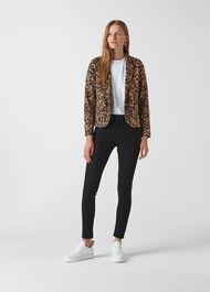 Animal Jacquard Jersey Jacket Leopard Print