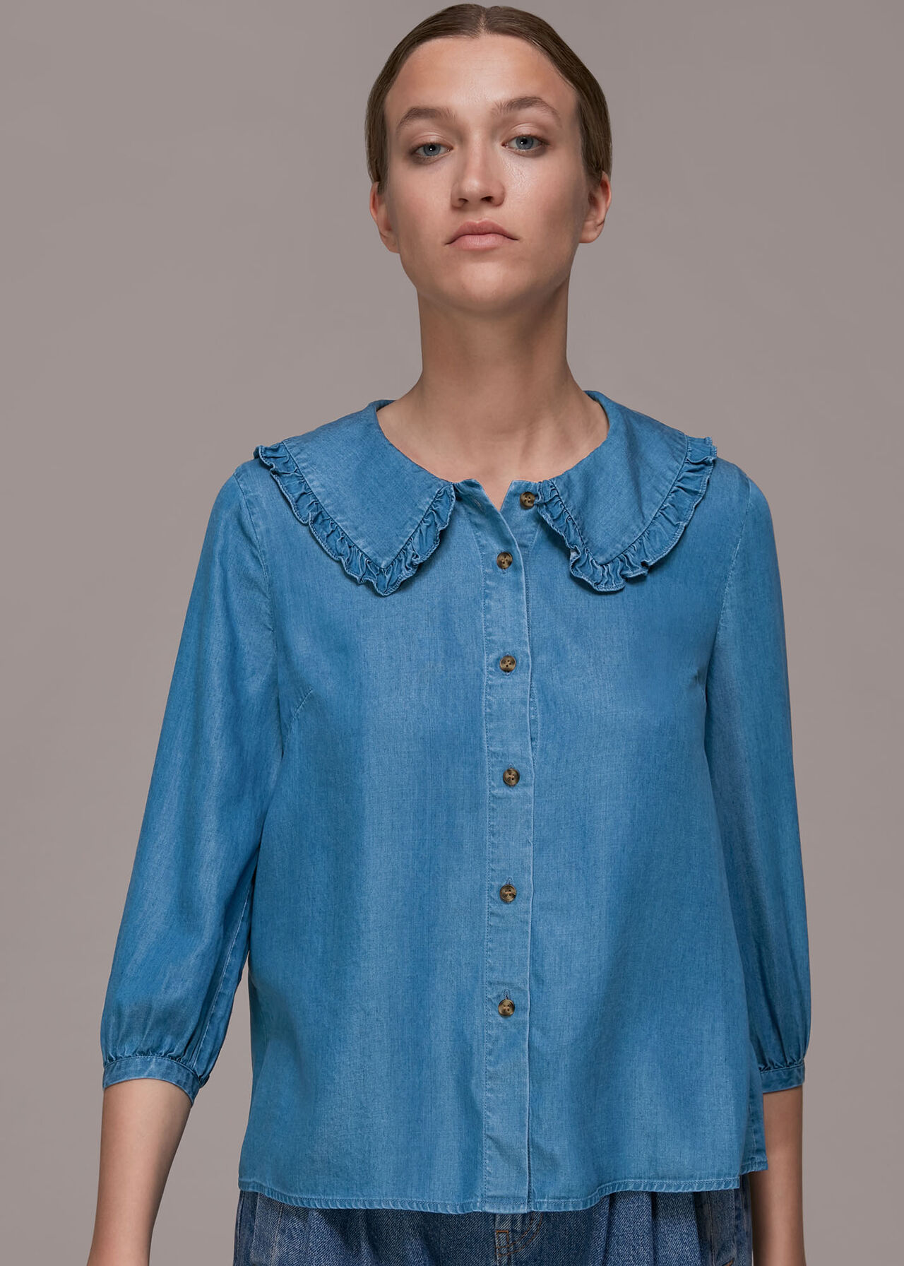 Collar Detail Denim Shirt