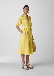 Alicia Tie Textured Dress Lemon