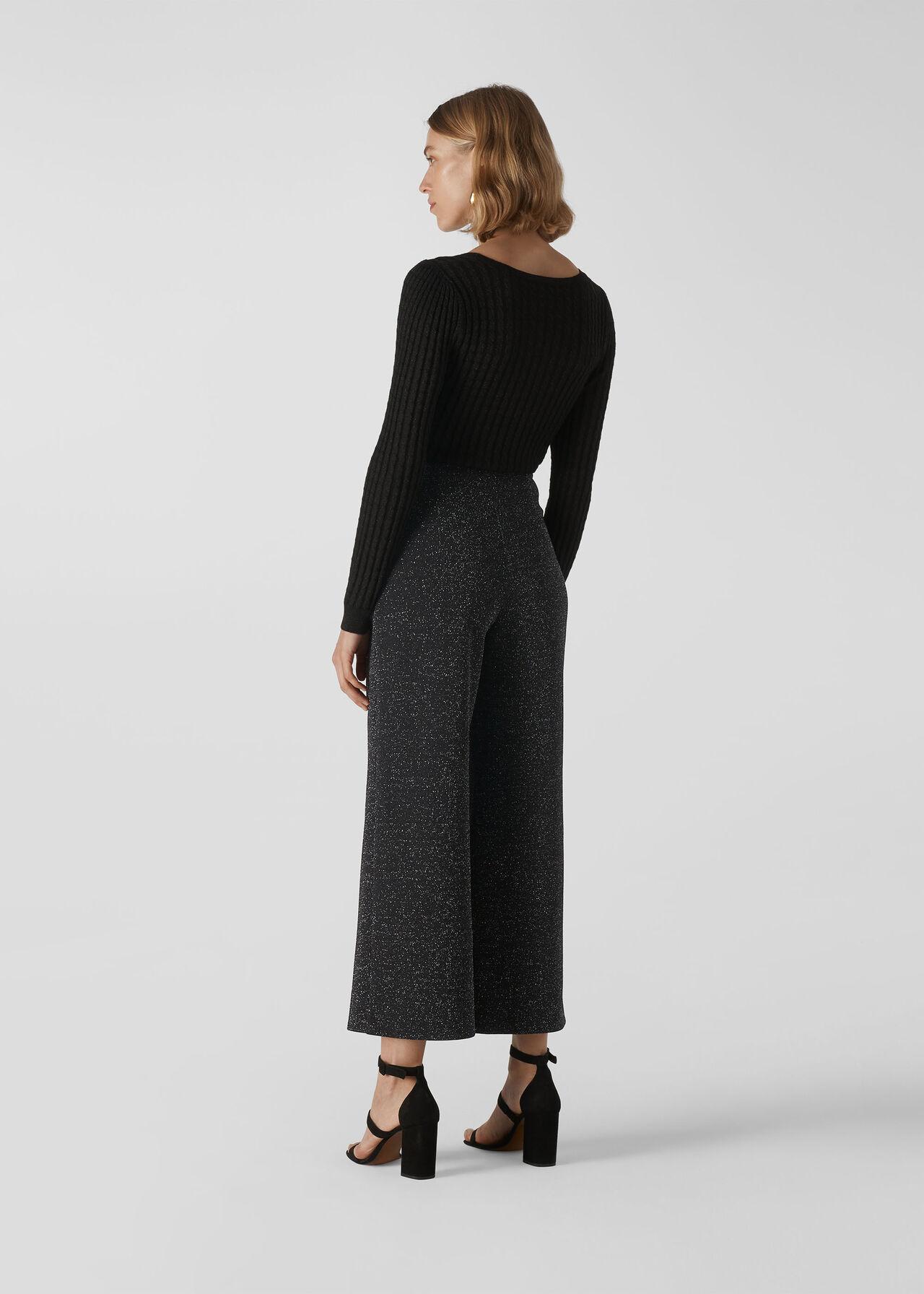 Metallic Wide Leg Trouser Black