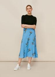 Sprig Floral Silk Bias Skirt Blue/Multi