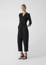 Hallie Zip Crepe Jumpsuit Black