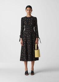 Micro Floral Tie Cuff Dress Black/Multi