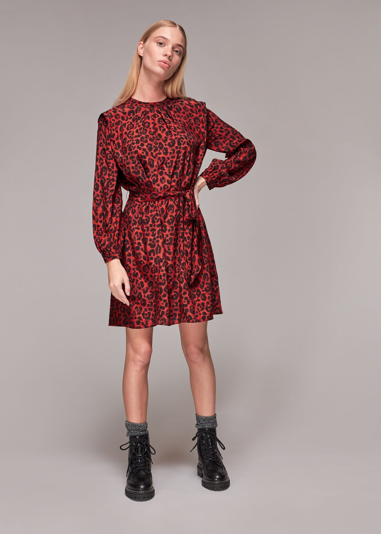 Animal Print Belted Dress