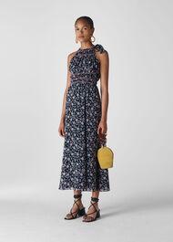 Marsha Print Midi Dress Blue/Multi