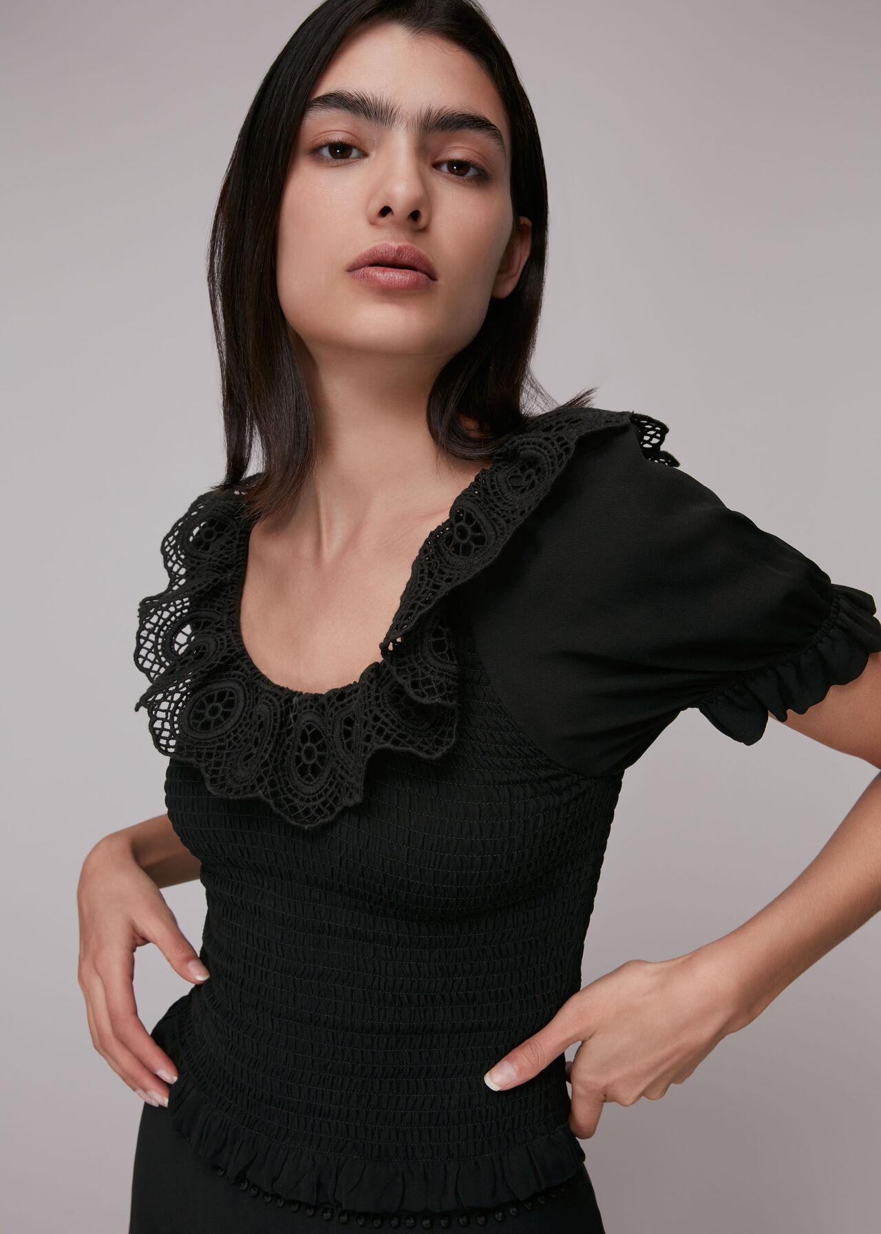 Crochet Detail Smocked Top