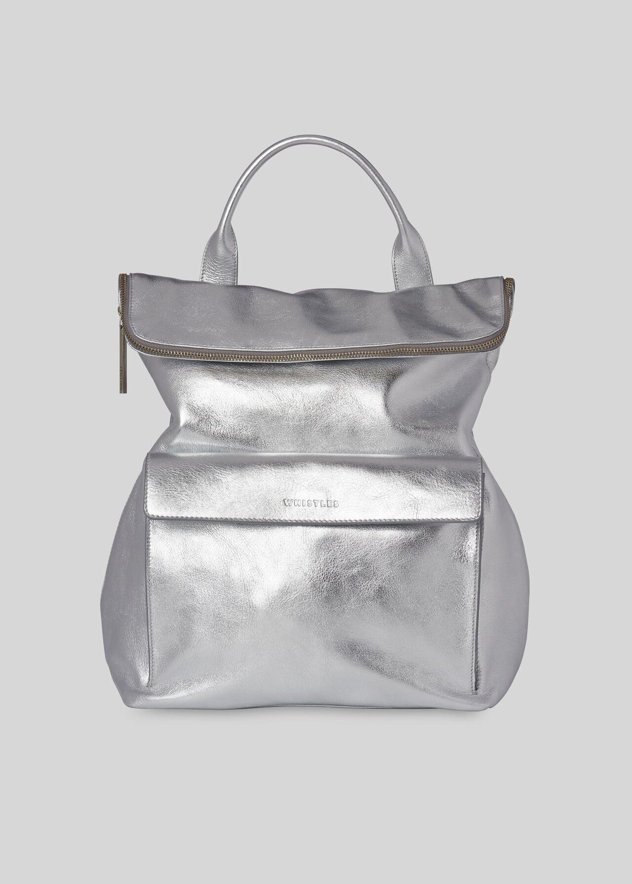 Metallic Verity Backpack Silver