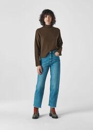 Soft Roll Neck Wool Sweater Khaki