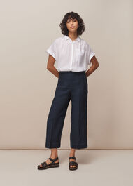 Indigo Linen Cropped Trouser Navy