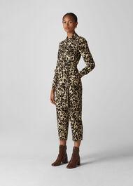 Jungle Cat Utility Jumpsuit Leopard Print
