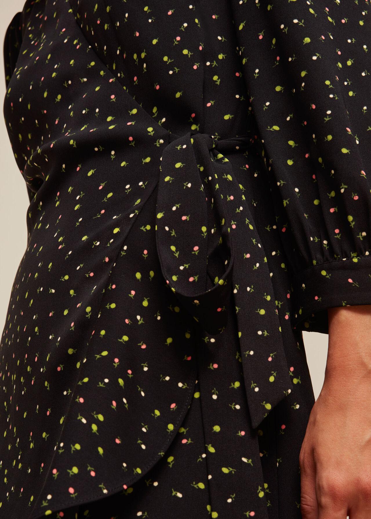 Bright Bud Print Wrap Dress