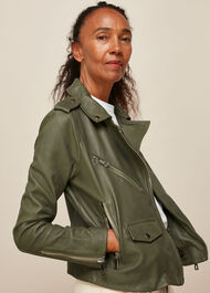 Agnes Pocket Leather Biker Khaki
