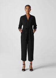 Arabella Crepe Tie Jumpsuit Black