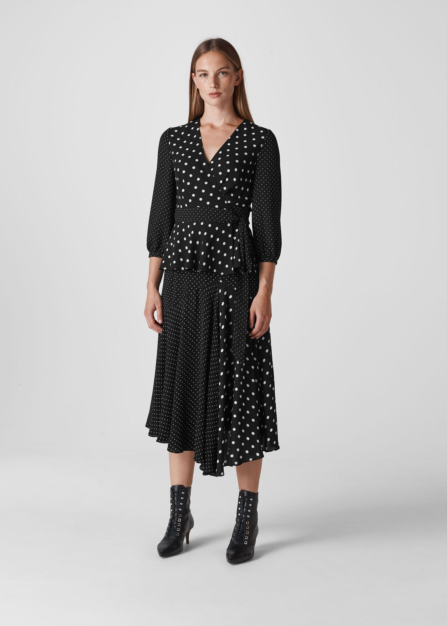 Spot Print Asymmetric Skirt