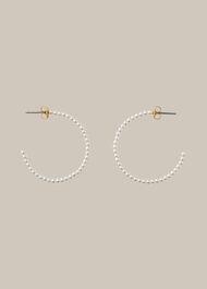 Large Pearl Hoop Earring White