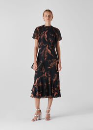 Rose Paisley Leaf Dress Black/Multi