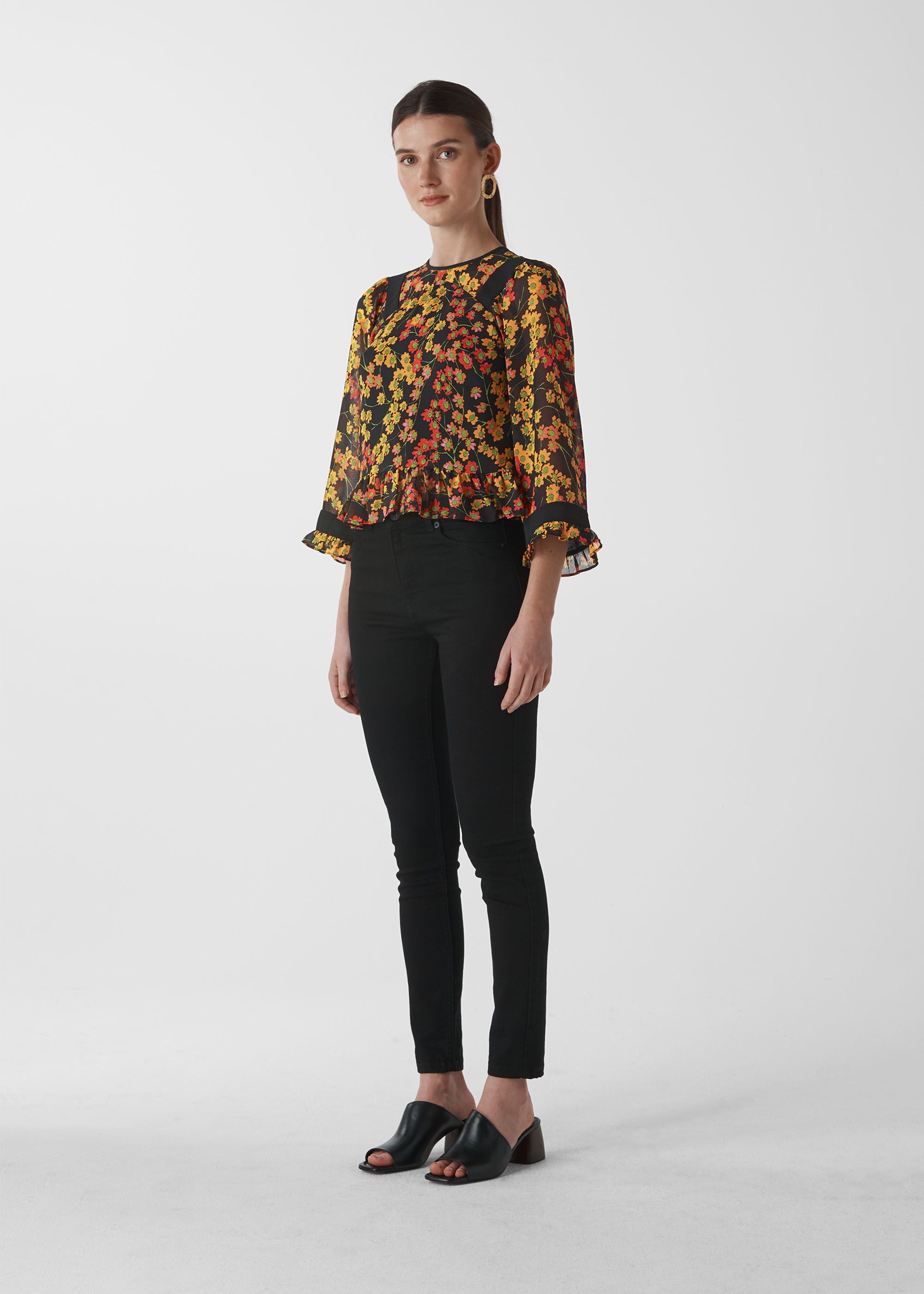 Whistles Women Daisy Print Fluted Top