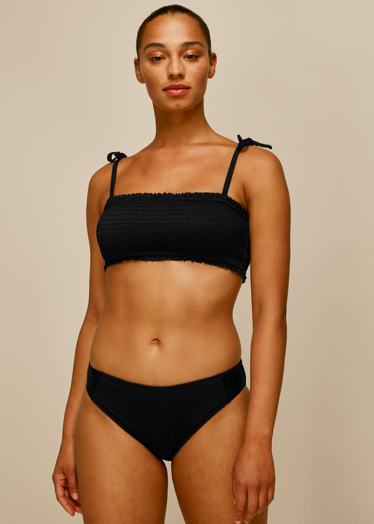 Shirred Panelled Bikini Bottom Black