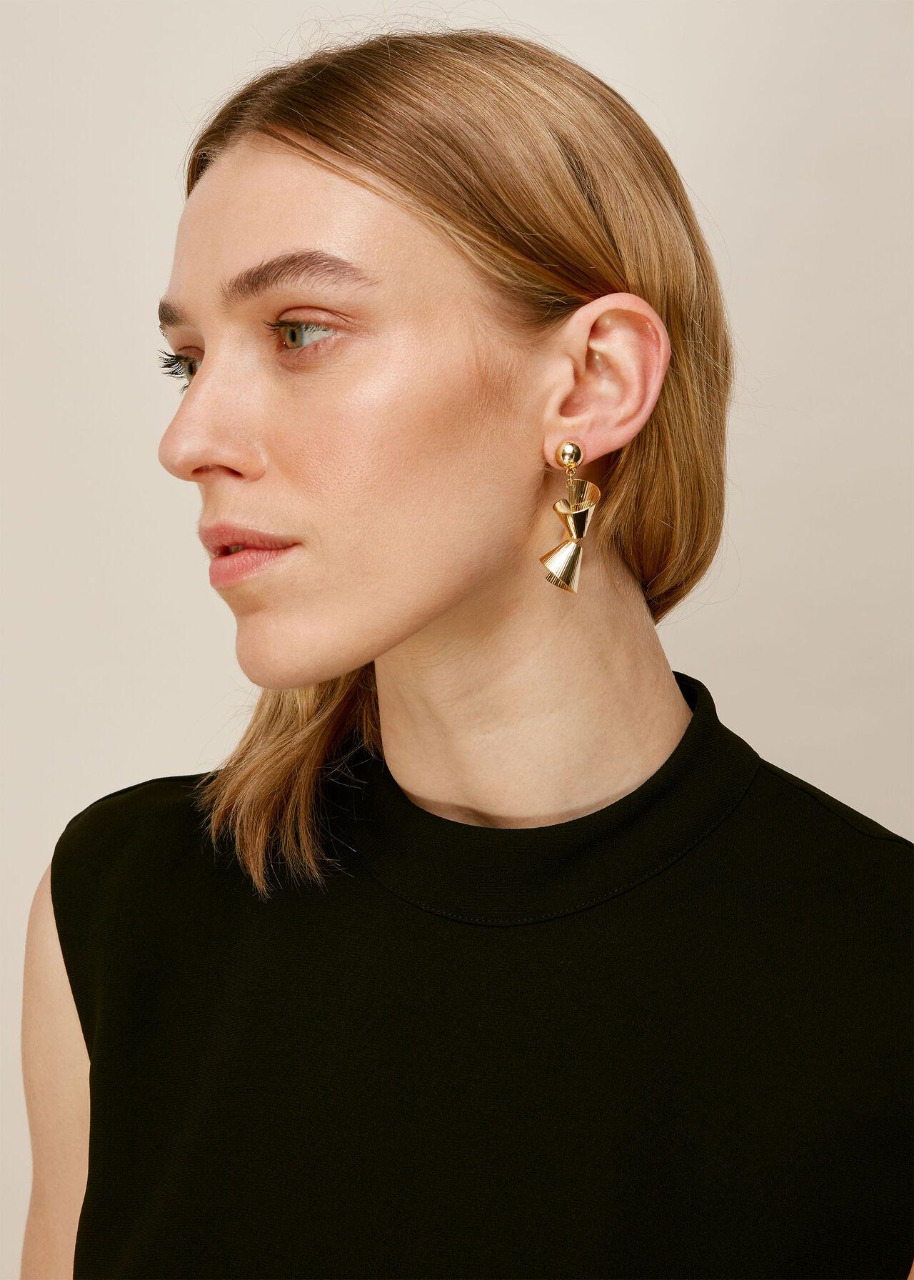 Engraved Swirl Earring Gold/Multi