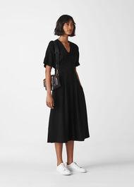 Naya Button Detail Dress Black