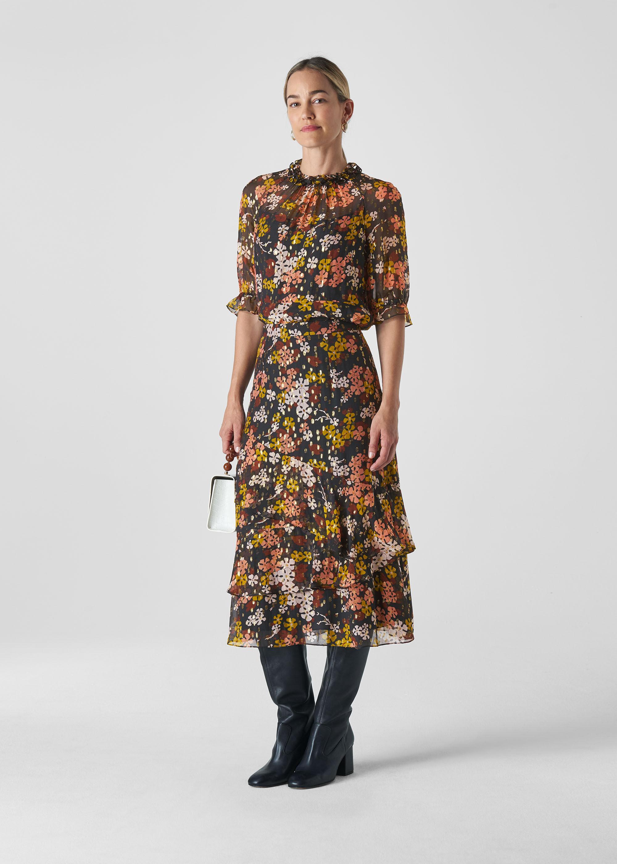 Whistles Women Clover Floral Silk Mix Skirt