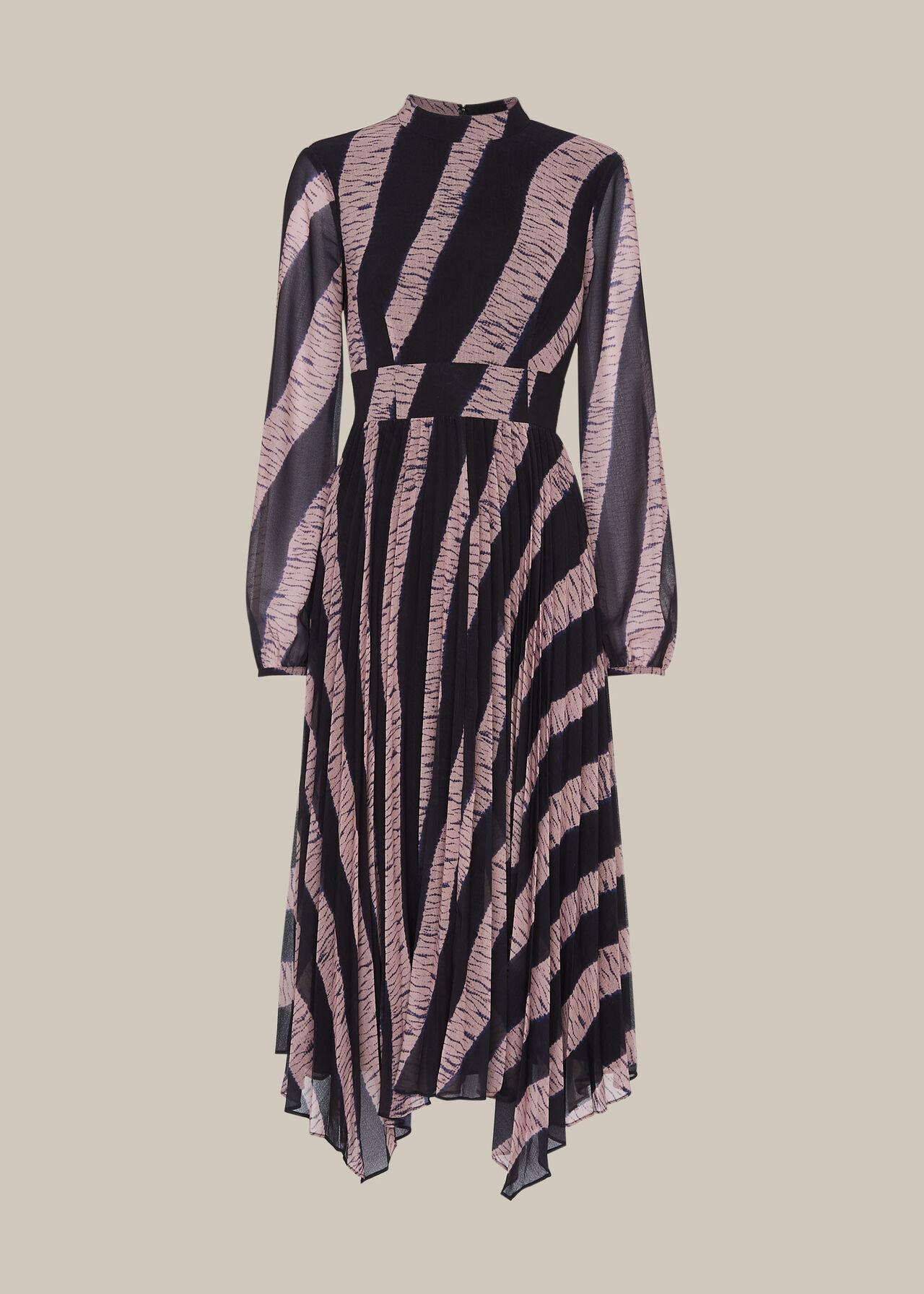 Shibori Print Pleated Dress