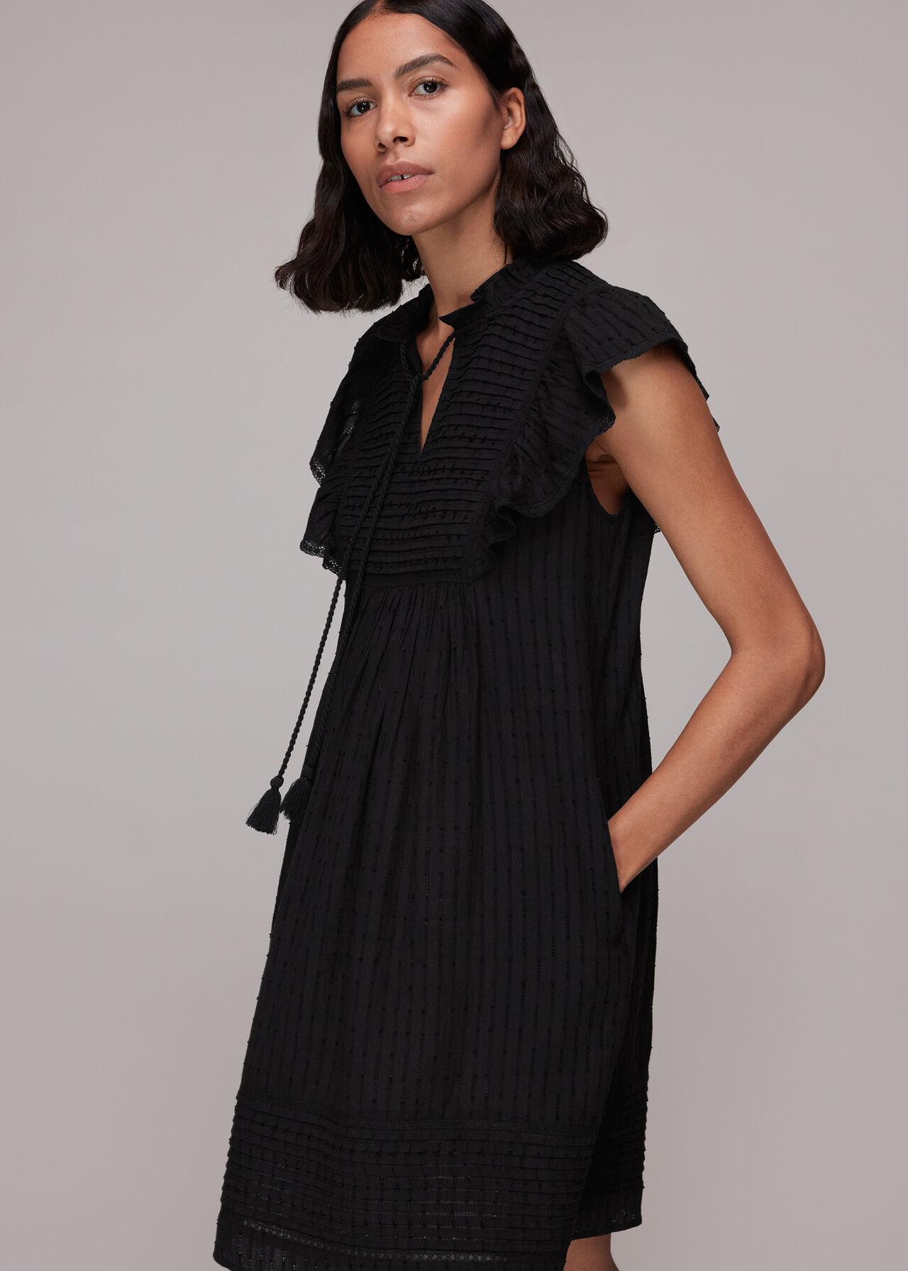 Pintuck Frill Cotton Dress