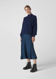 Funnel Neck Cashmere Knit Navy