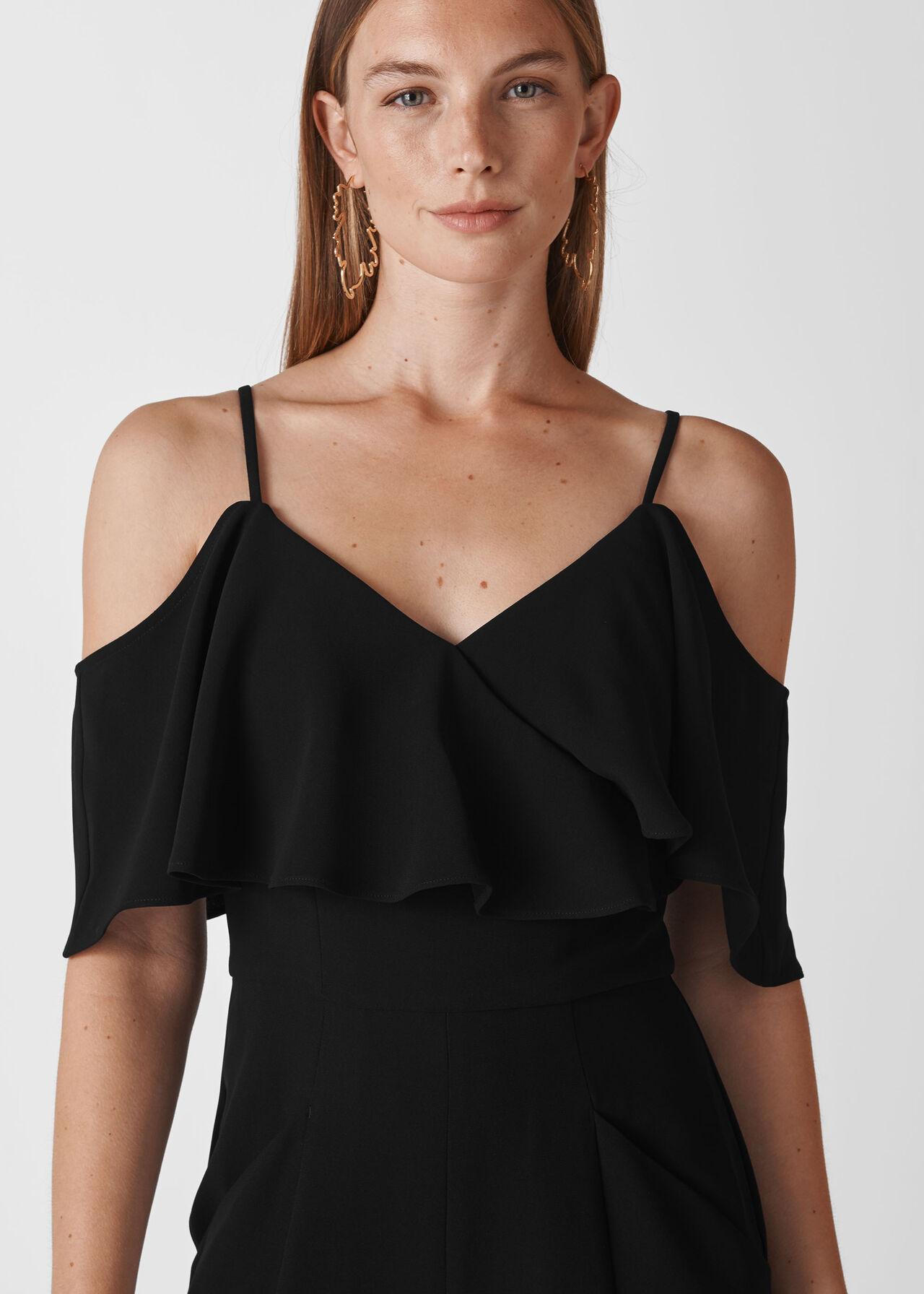 Camila Crepe Wrap Jumpsuit Black