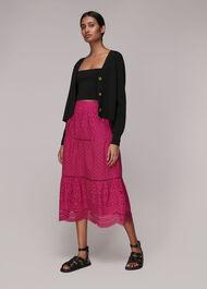Broderie Midi Skirt Pink
