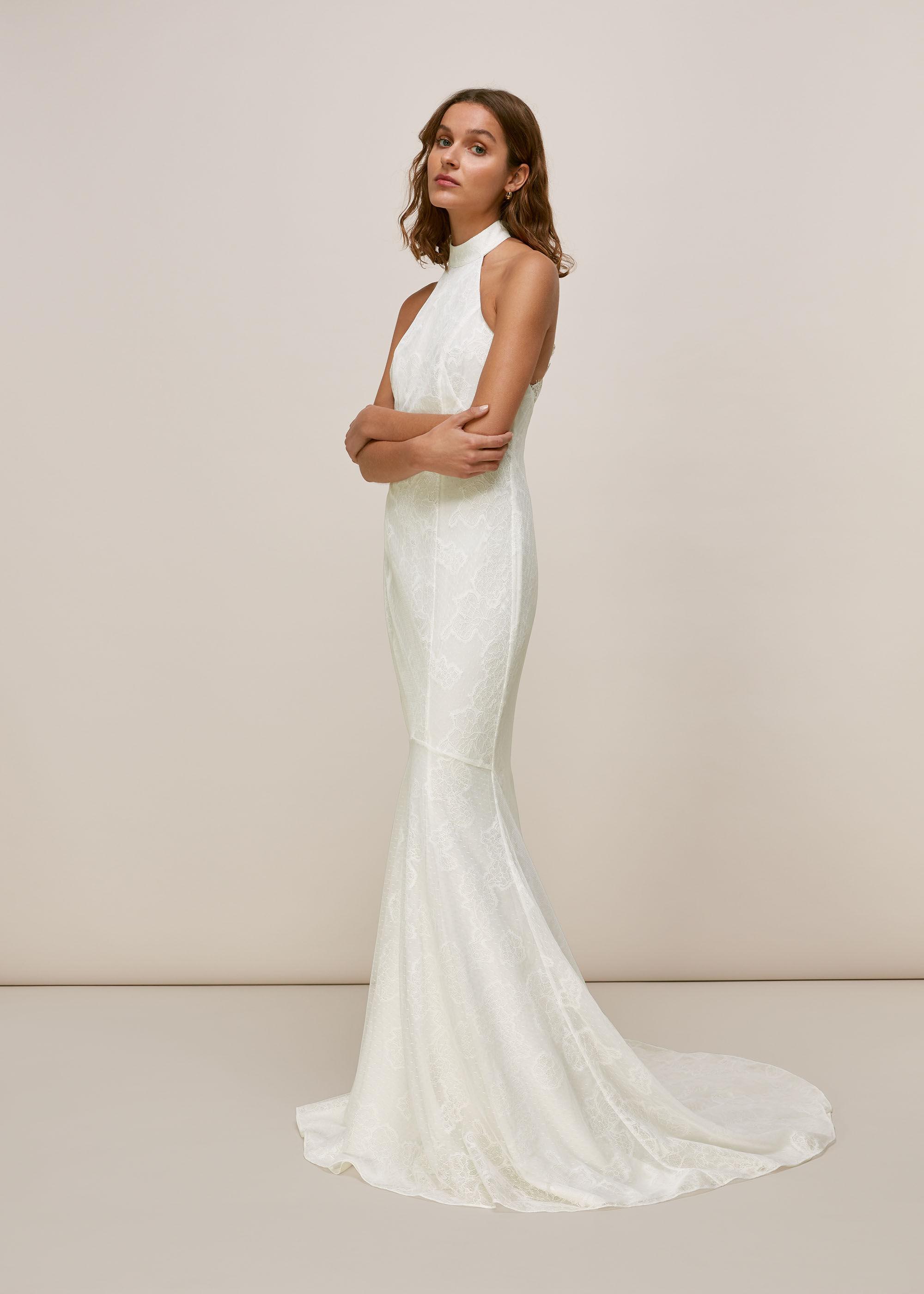 Ivory Maria Halter Wedding Dress