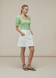 Seam Detail Frayed Denim Skirt White