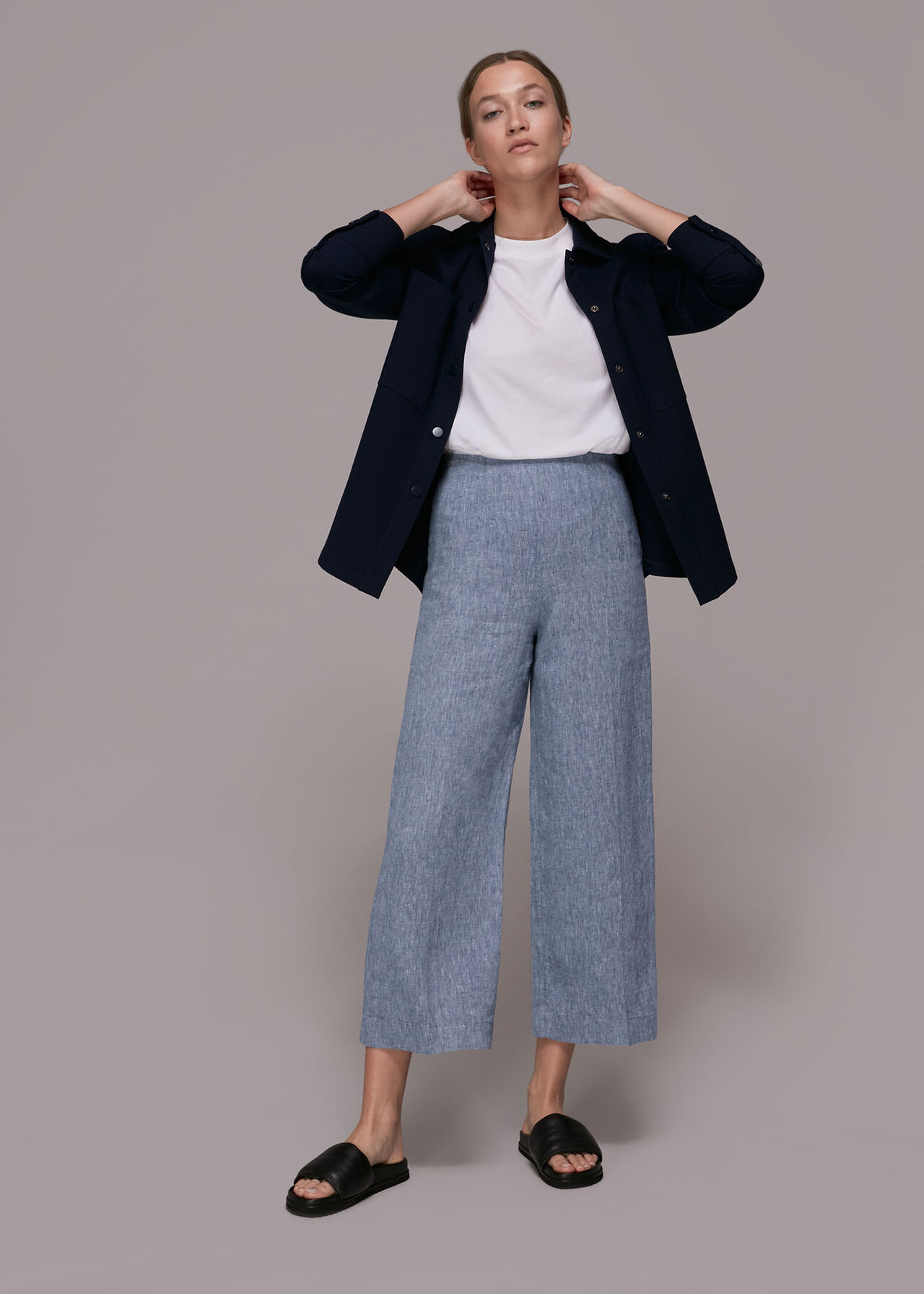 Chambray Linen Cropped Trouser