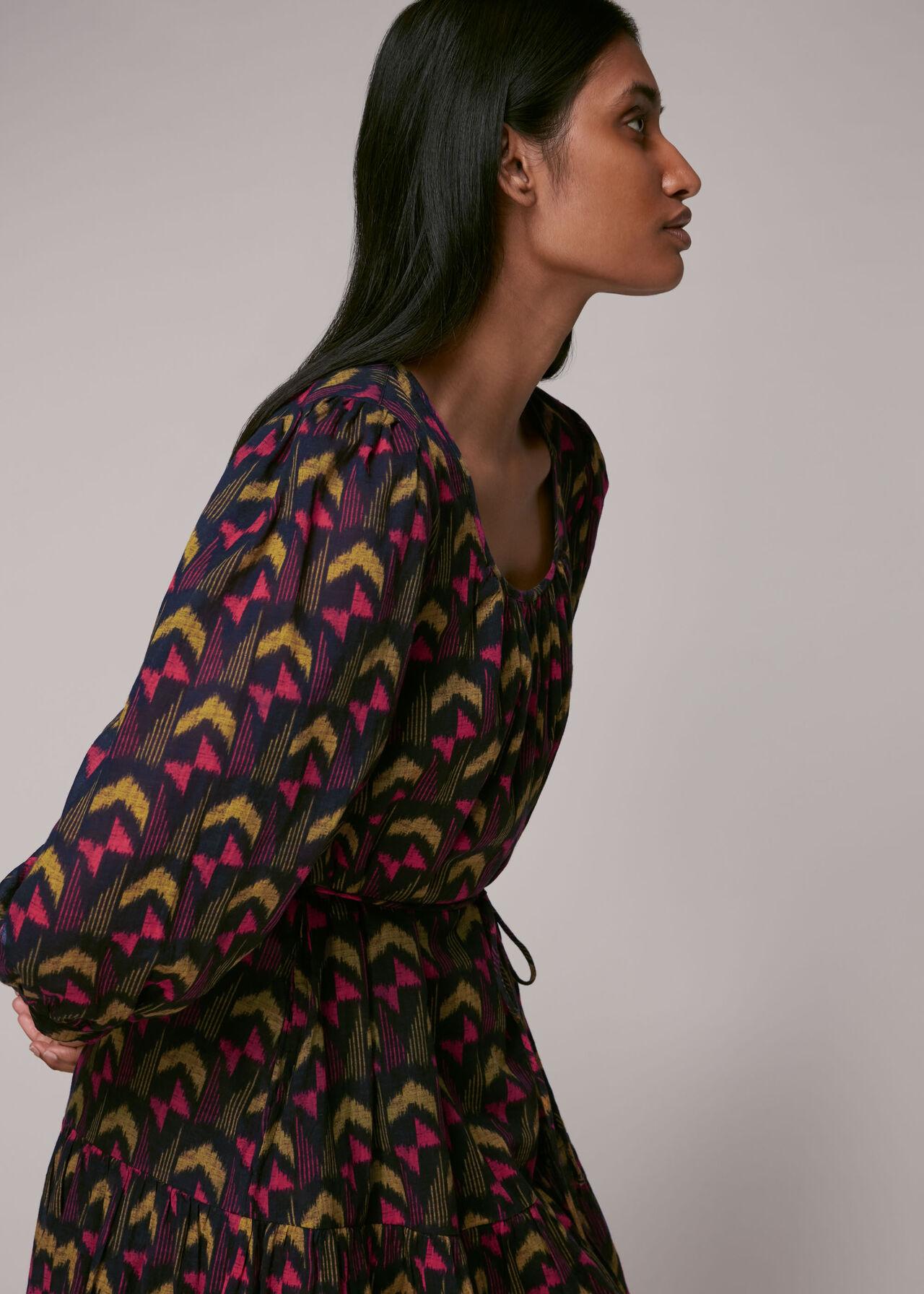 Geometric Ikat Trapeze Dress