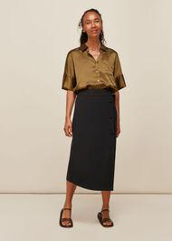 Belted Ponte Wrap Skirt