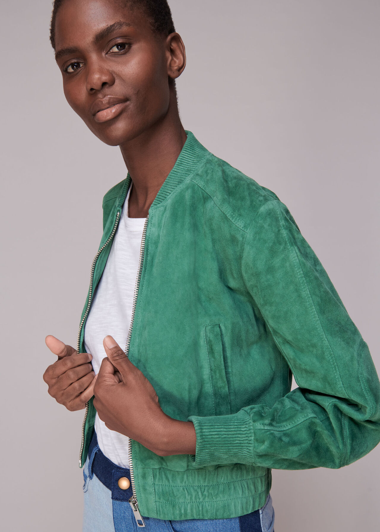 Cropped Suede Bomber Jacket