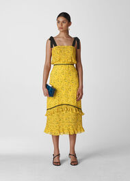 Ditsy Blossom Pleated Dress Yellow/Multi