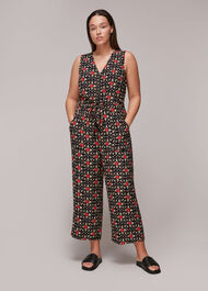 Block Print Corey Zip Jumpsuit