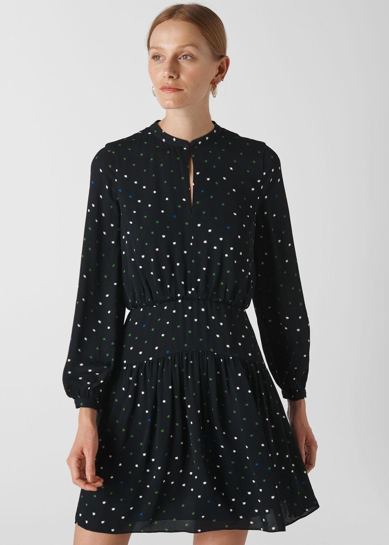 Millie Star Print Dress Black/Multi
