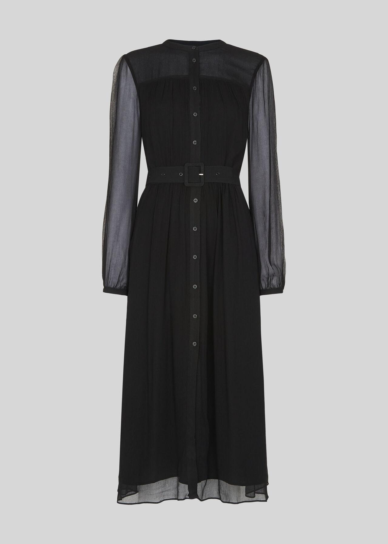 Bethany Belted Midi Dress Black