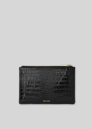 Shiny Croc Small Clutch Black