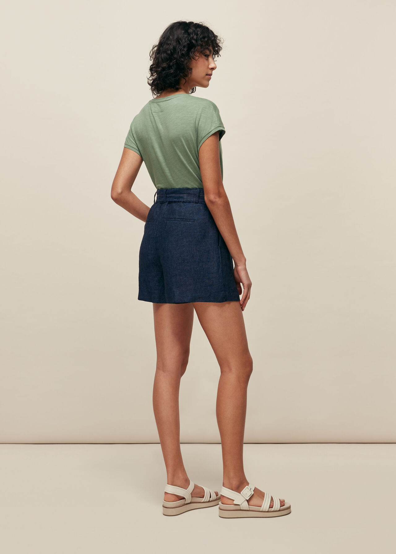 Indigo Linen Short