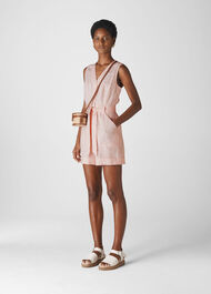 Linen Button Detail Playsuit Pale Pink