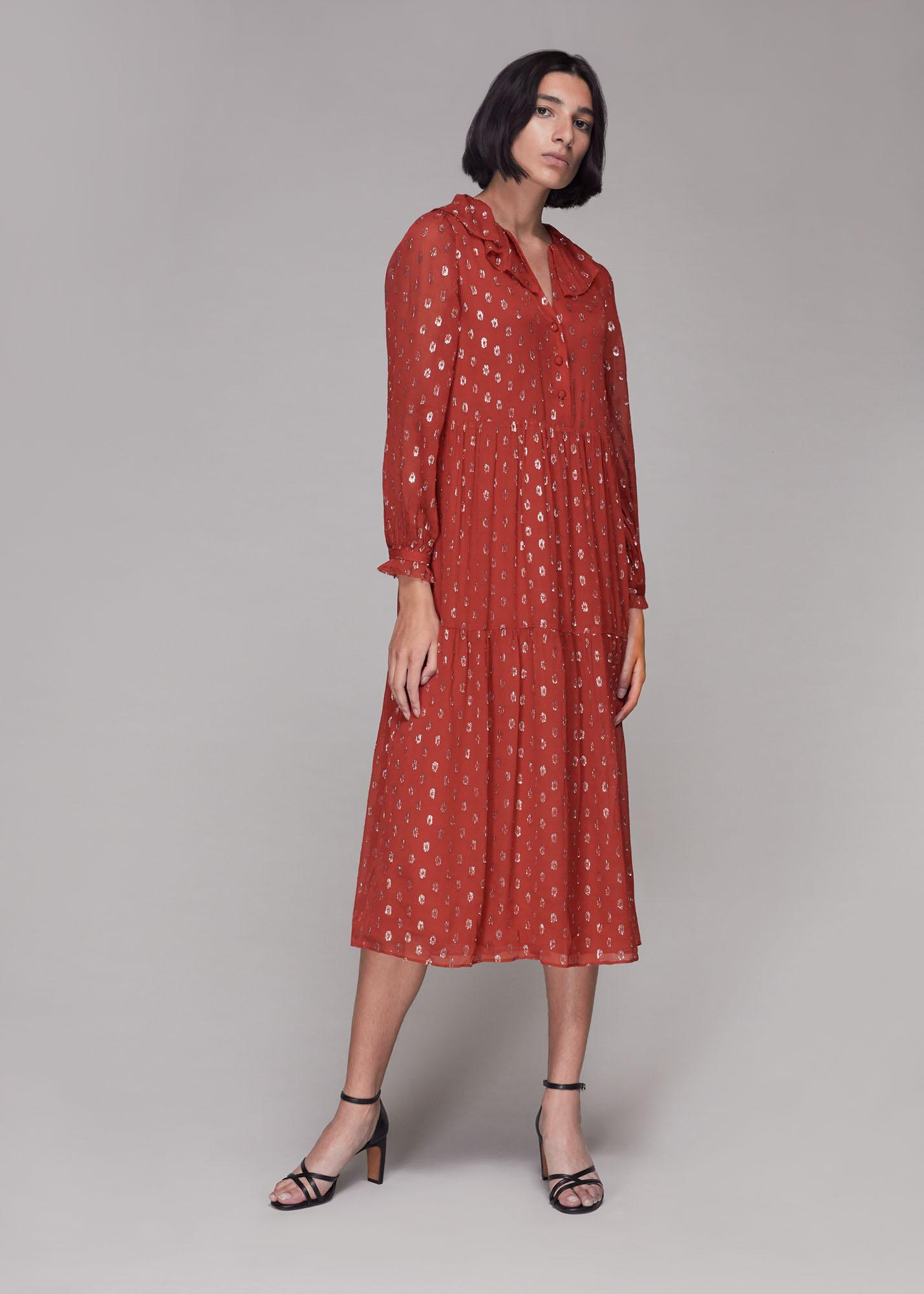 Whistles Women Frill Detail Dobby Midi Dress