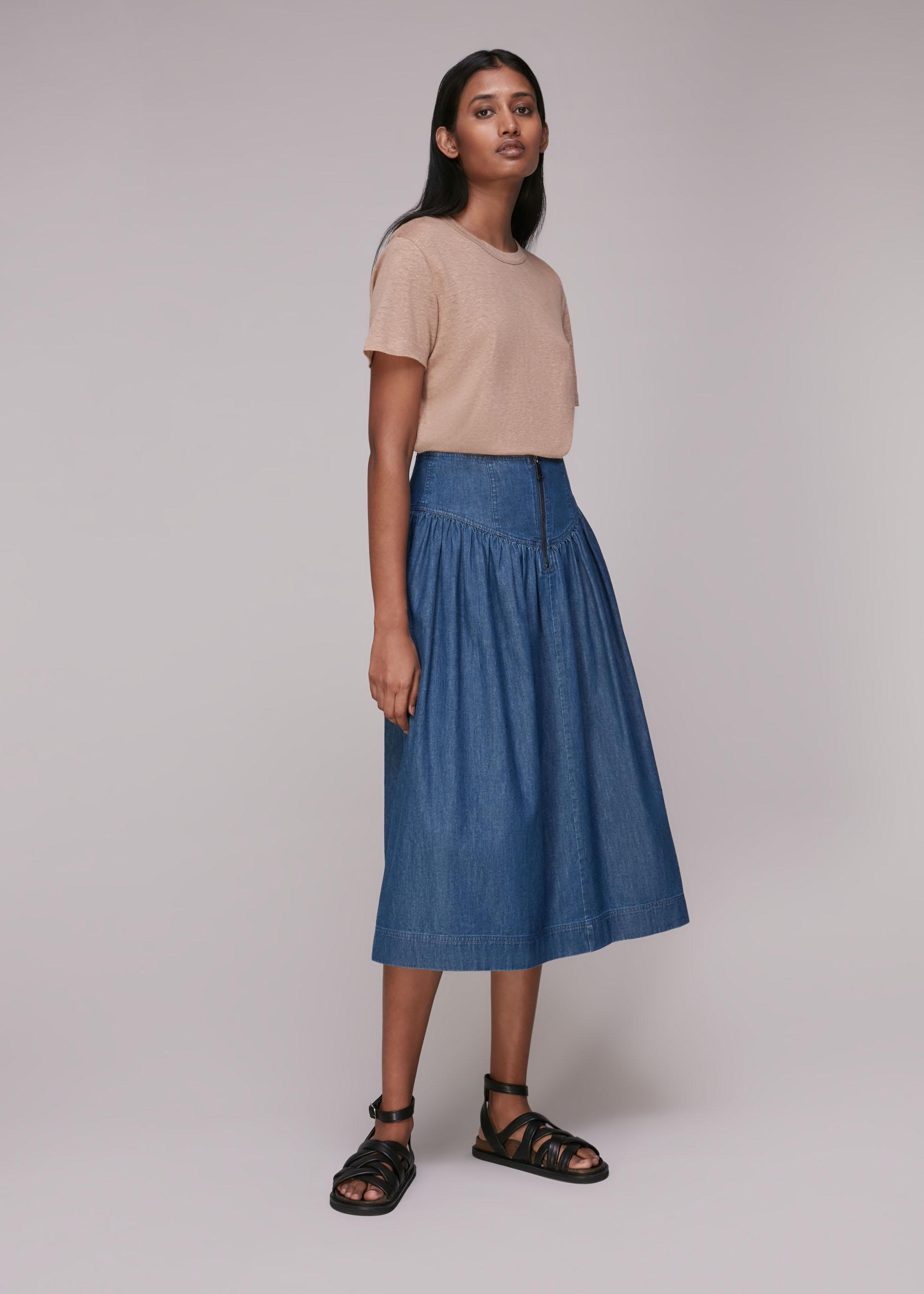 Whistles Women Zip Detail Chambray Midi Skirt
