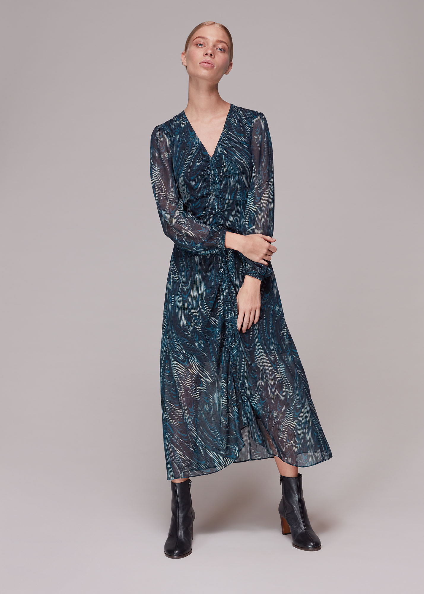 Whistles Women Wave Print Ruched Dress