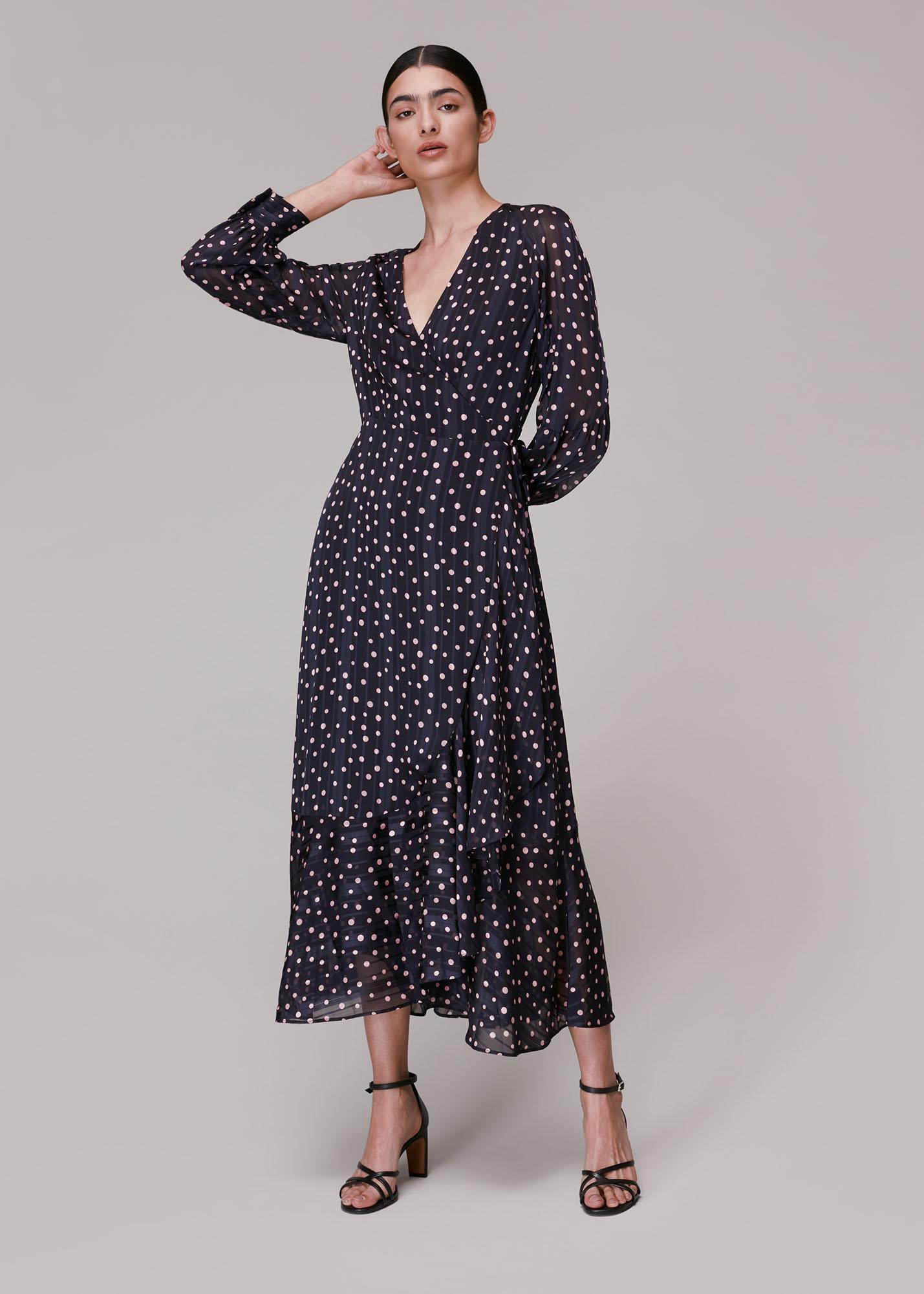 Whistles Women Satin Stripe Spot Wrap Dress