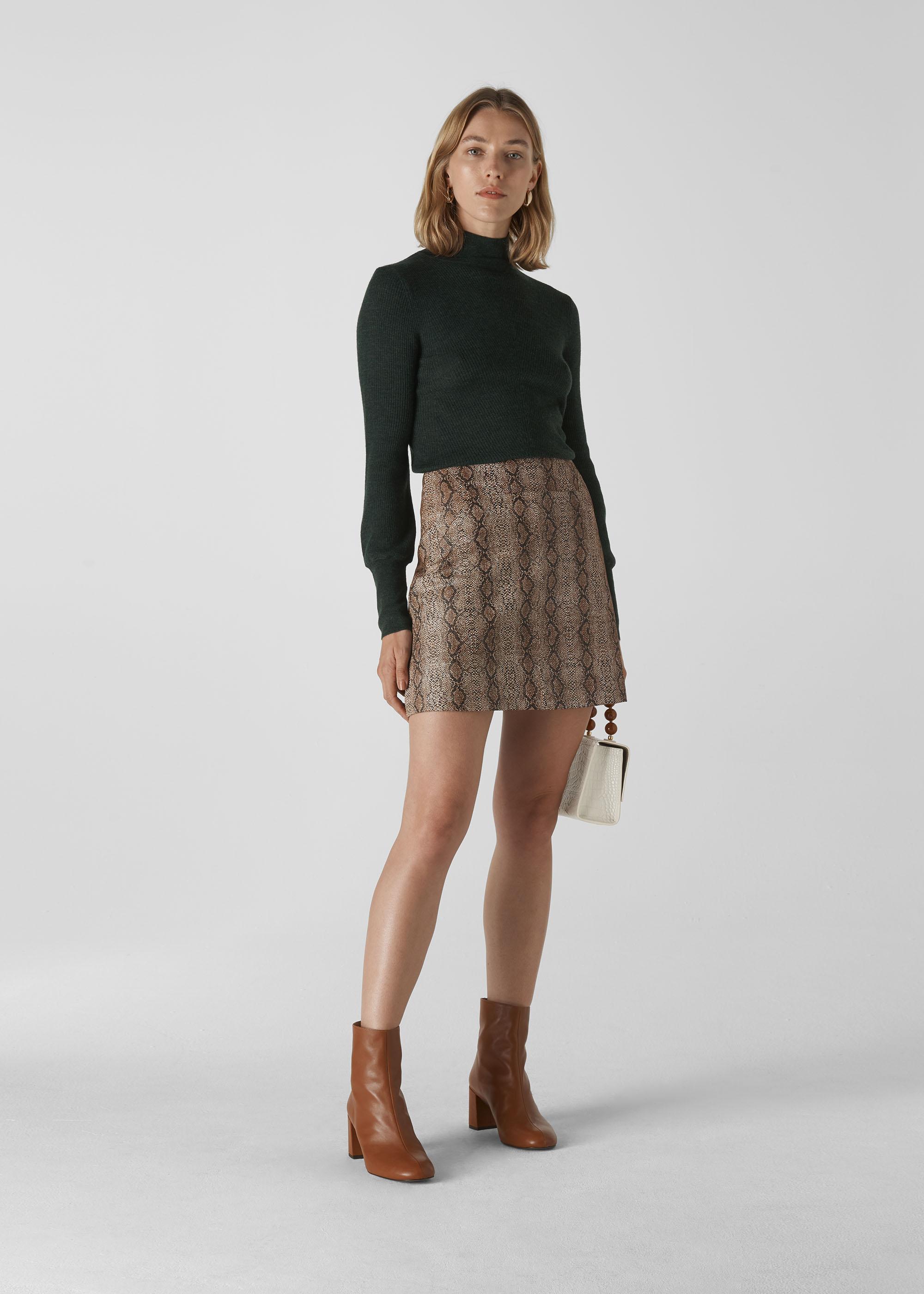 Whistles Women Snake Leather Aline Skirt