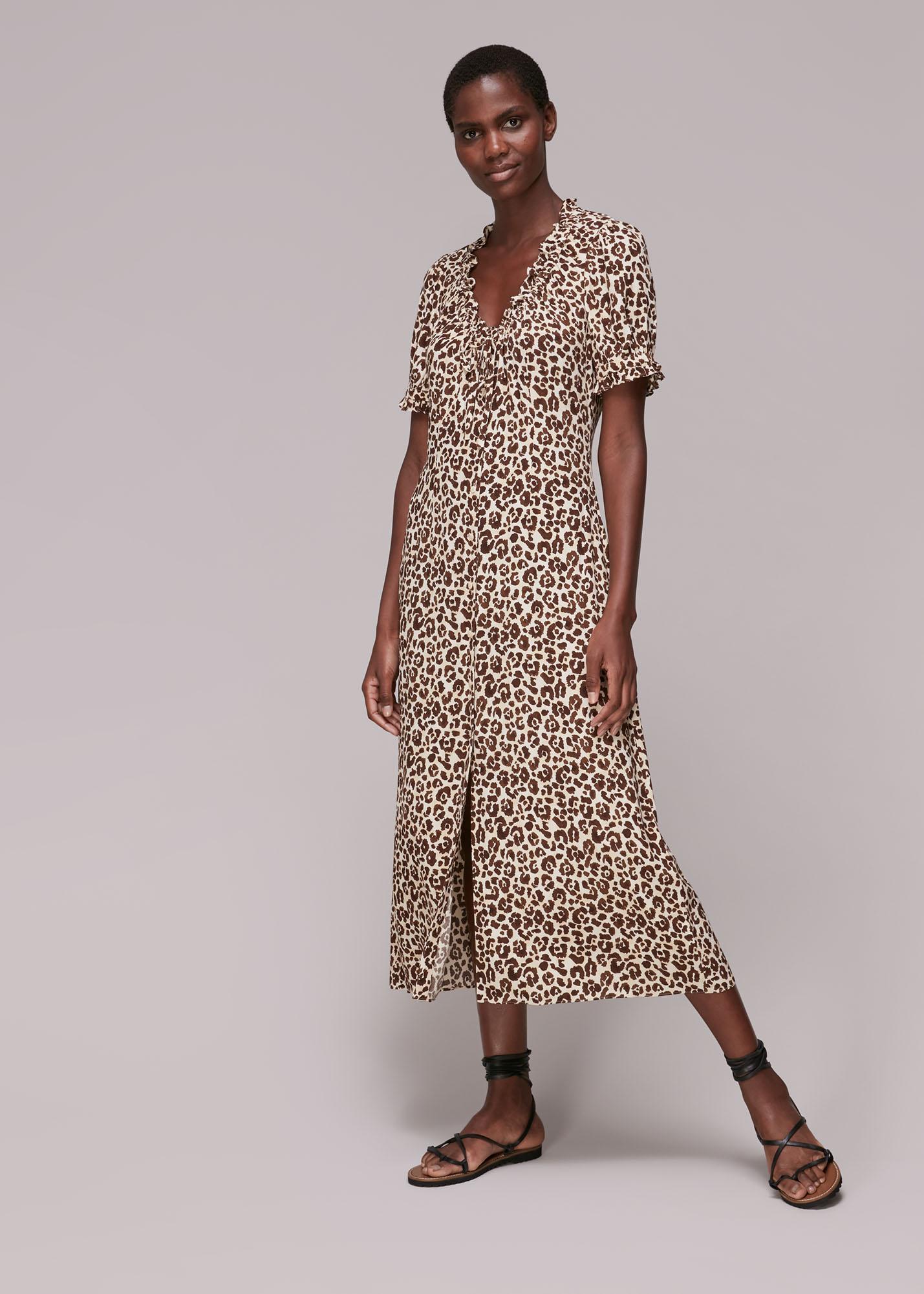 Whistles Women Ada Animal Print Midi Dress